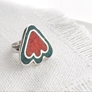 VINTAGE Native Turquoise & Sterling Arrowhead Ring